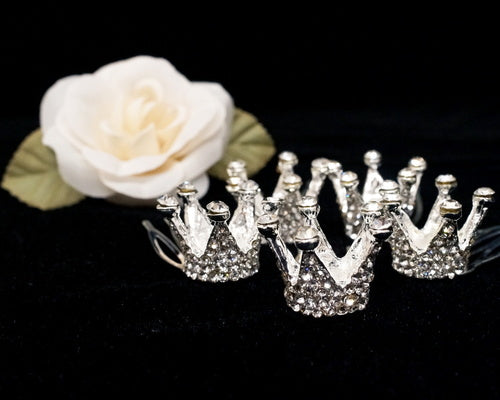 Mini Crown Silver Royal with Comb - Pack of 6