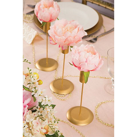Candlestick Holders - Gold - 3.5 x 8 Inches - 3 Pieces