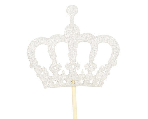 Glitter Crown Centerpiece Cake Topper 14.5 Inch - 12 Pieces