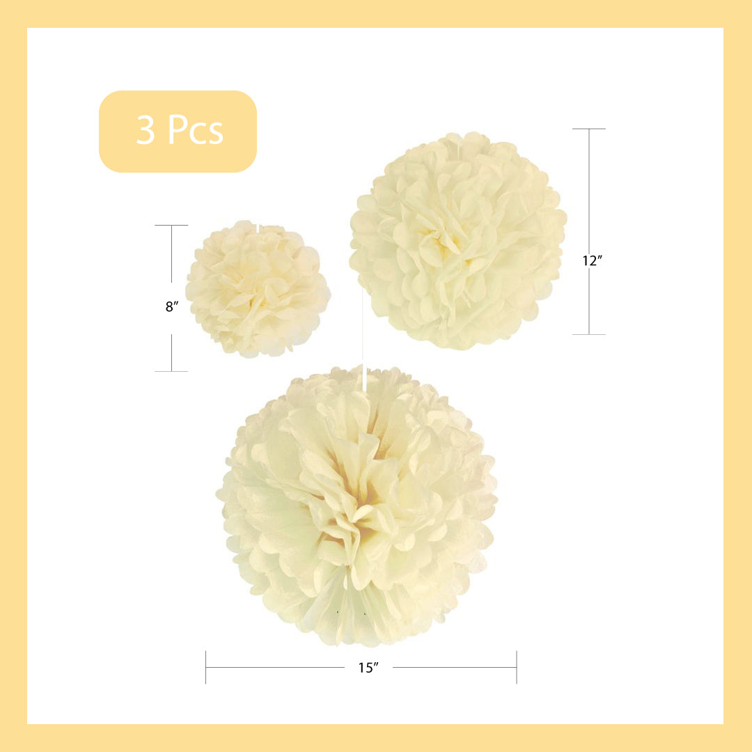 Pom-Pom Tissue Paper Set of 3 Pieces 8 Inch, 12 Inch, 15 Inch
