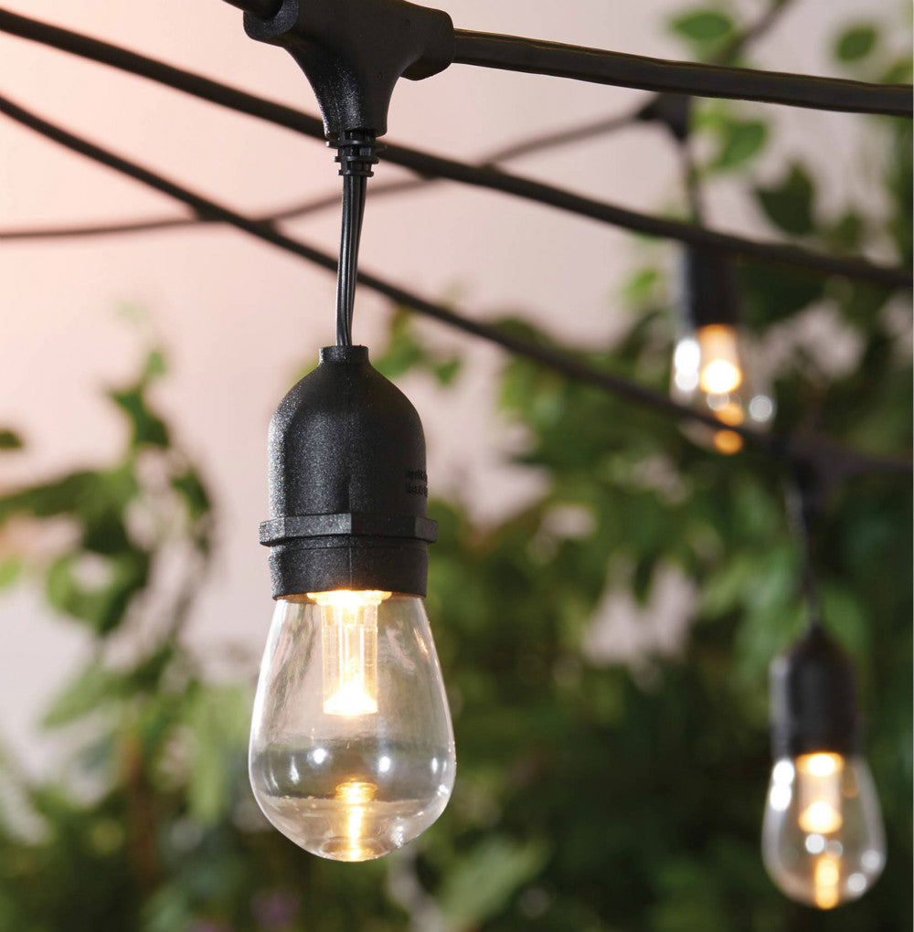 Ohah Outdoor String Lights Commercial Great Weatherproof Strand Edison Vintage Bulbs 15 Hanging Sockets, 48 FT UL Listed Heavy-Duty Decorative Café Patio Lights for Bistro Garden