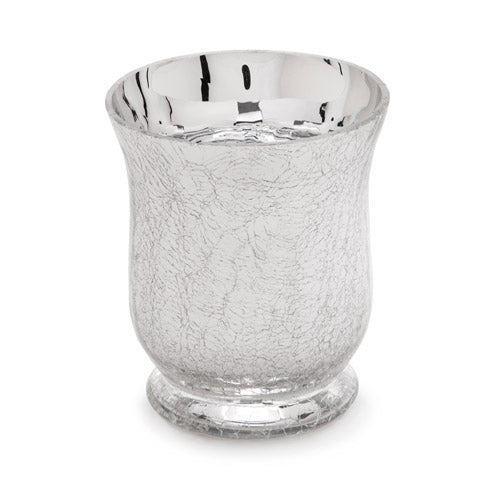 Cracked Glass Hurricane Candle Holder - Silver - 3.4375 x 4.25 Inches