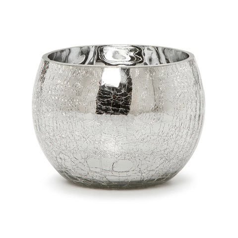 Candle Holder - Sliver Crackle Glass - 3.78 Inches