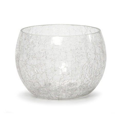 Candle Holder - Crackle Glass - 3.78 Inches
