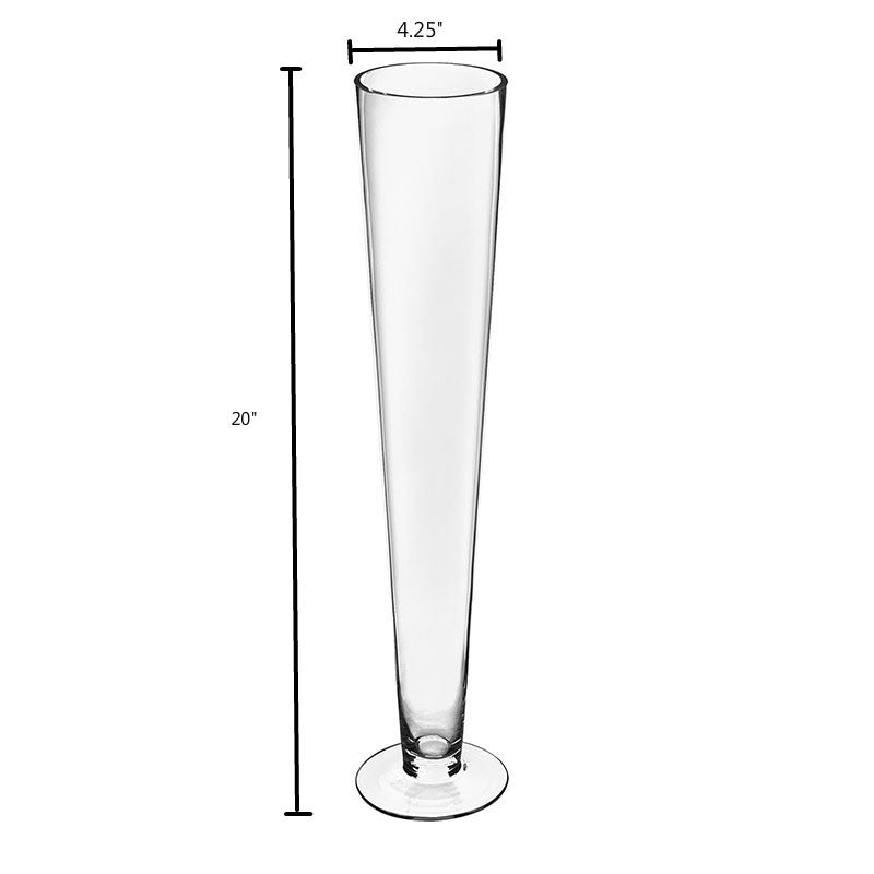 Clear Glass Trumpet Vases Pack of 6