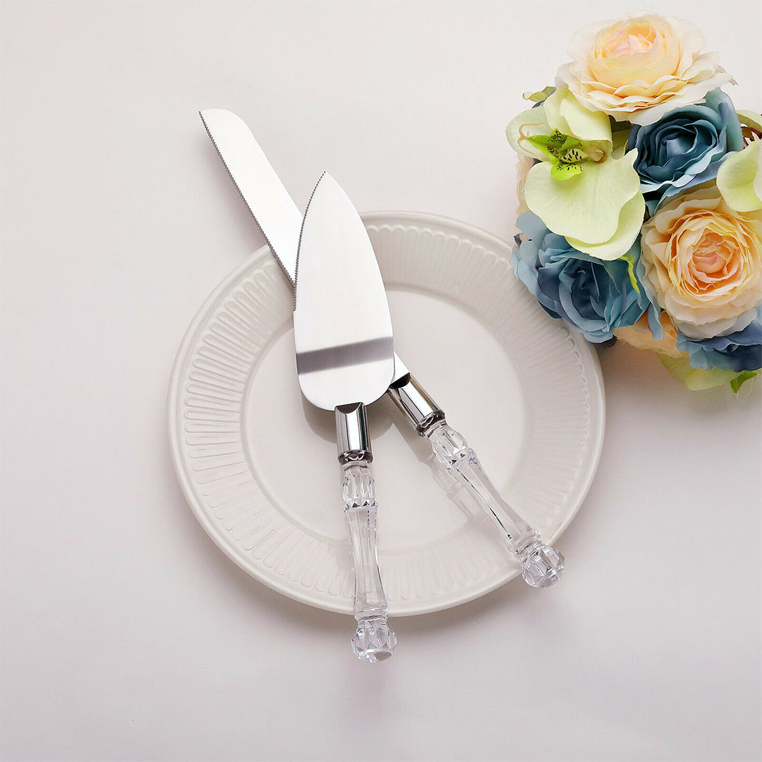 Wedding Cake Knife and Server Sets W/ Acrylic Handle
