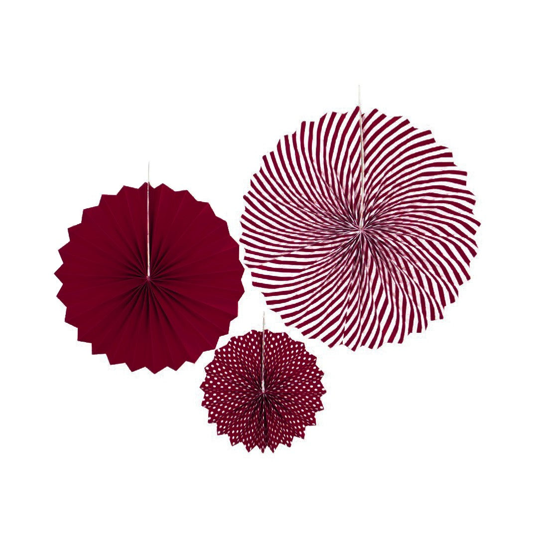 8 Inch Dots 12 Inch Solid 15 Inch Spiral Paper Fan Set of 3 Pieces