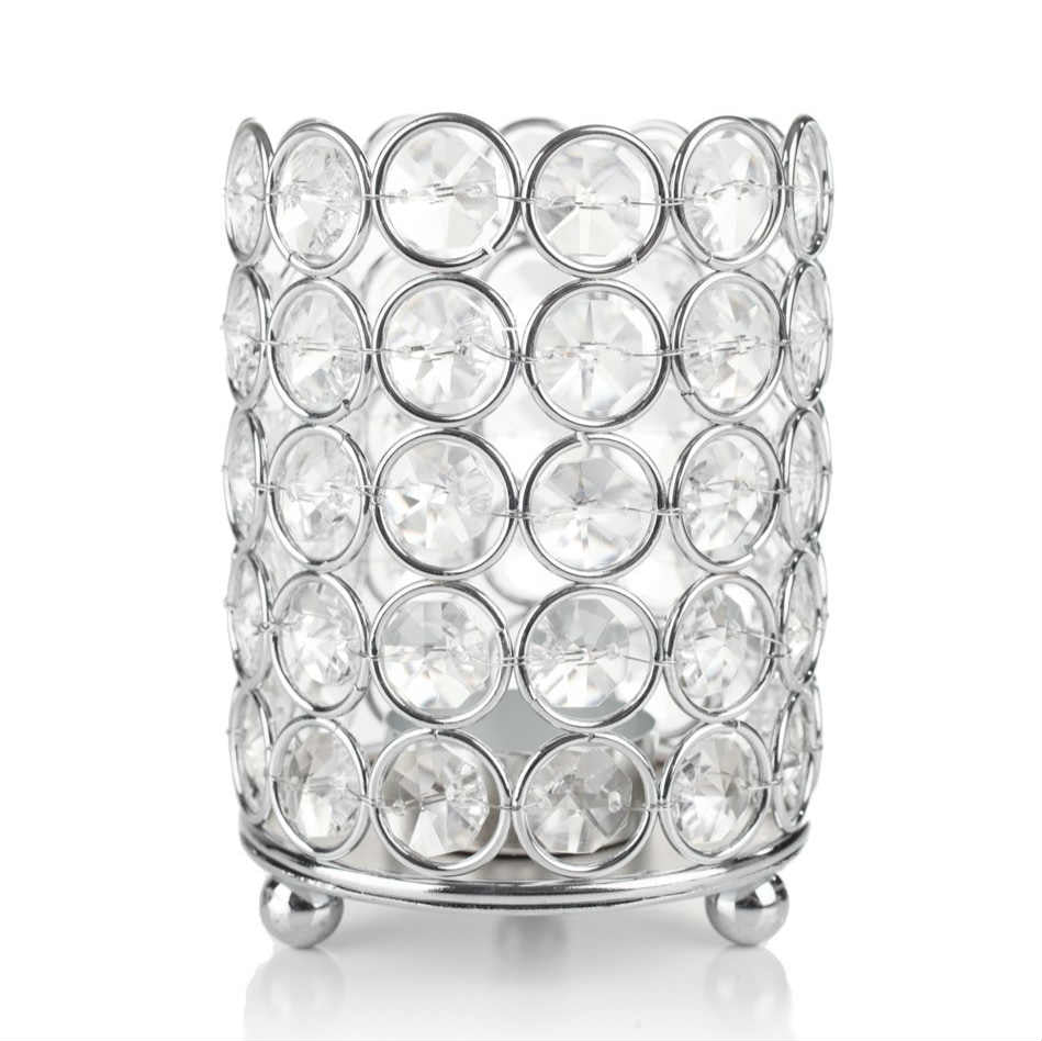 Crystal Cylinder Candle Holder 4.5 Inch W x 5.75 Inch H