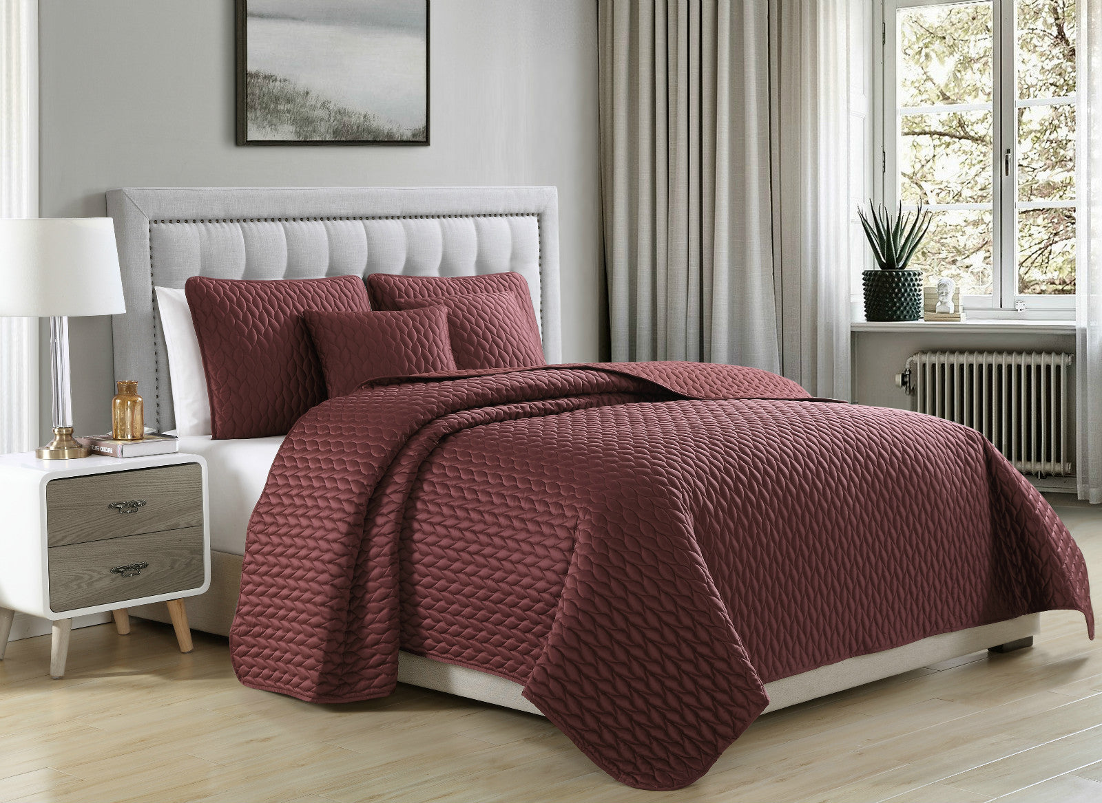 Coverlet Set Escape Matte Satin Quilt Microfiber Bedspread | SuperBeddings