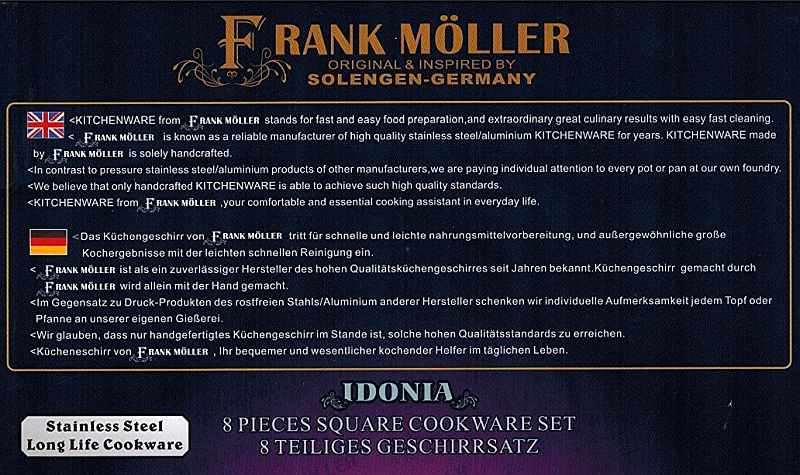 Frank Moller 18/10 Stainless Steel 8 Piece Cookware Set