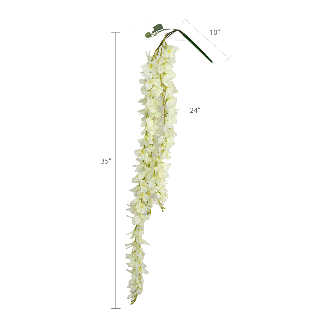 Artificial Hanging Wisteria 3 Branches Silk Flower Garland Vine Leaf Set of 2