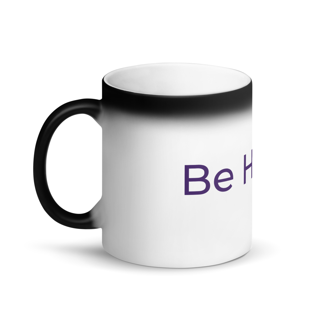 Be Happy Matte Black Magic Mug