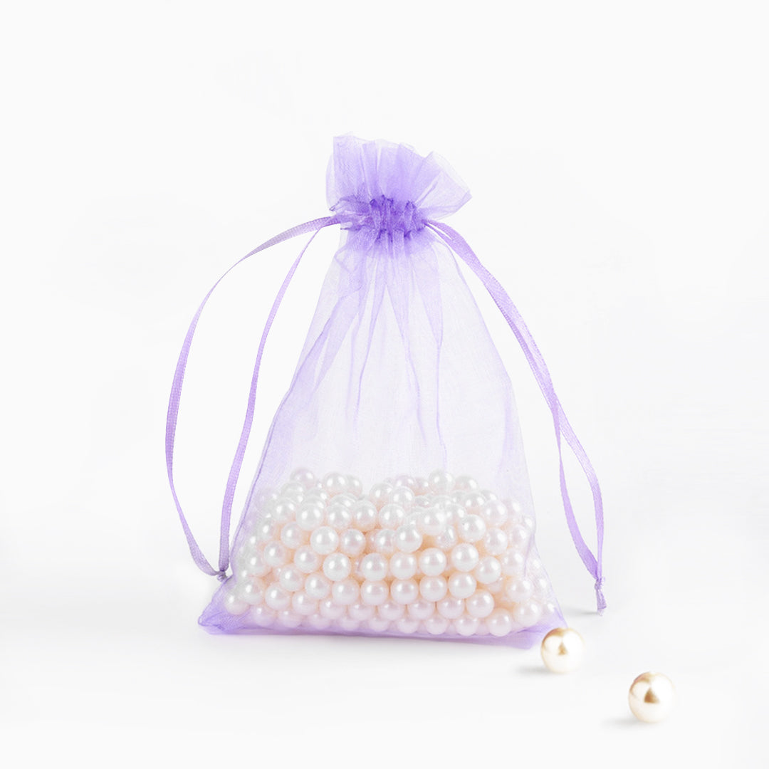 4.5 Inch x 5.5 Inch Organza Plain Sheer Gift Favor Bags Pack of 12