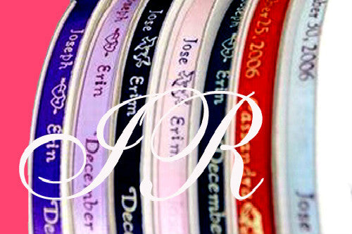 Copy of #1-Double Hearts Style Personalized Satin Ribbon Sold by 100 Pieces As Low as 3.99 each