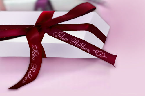 #2-Double Hearts Bells Personalized Satin Ribbon Sold by 100 Pieces As Low as 3.99 each