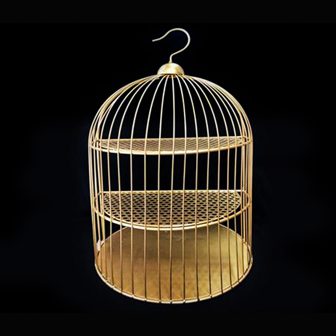 Birdcage Cake and Cupcake Stand W/Hanging Gold 25 Inch x 15 Inch