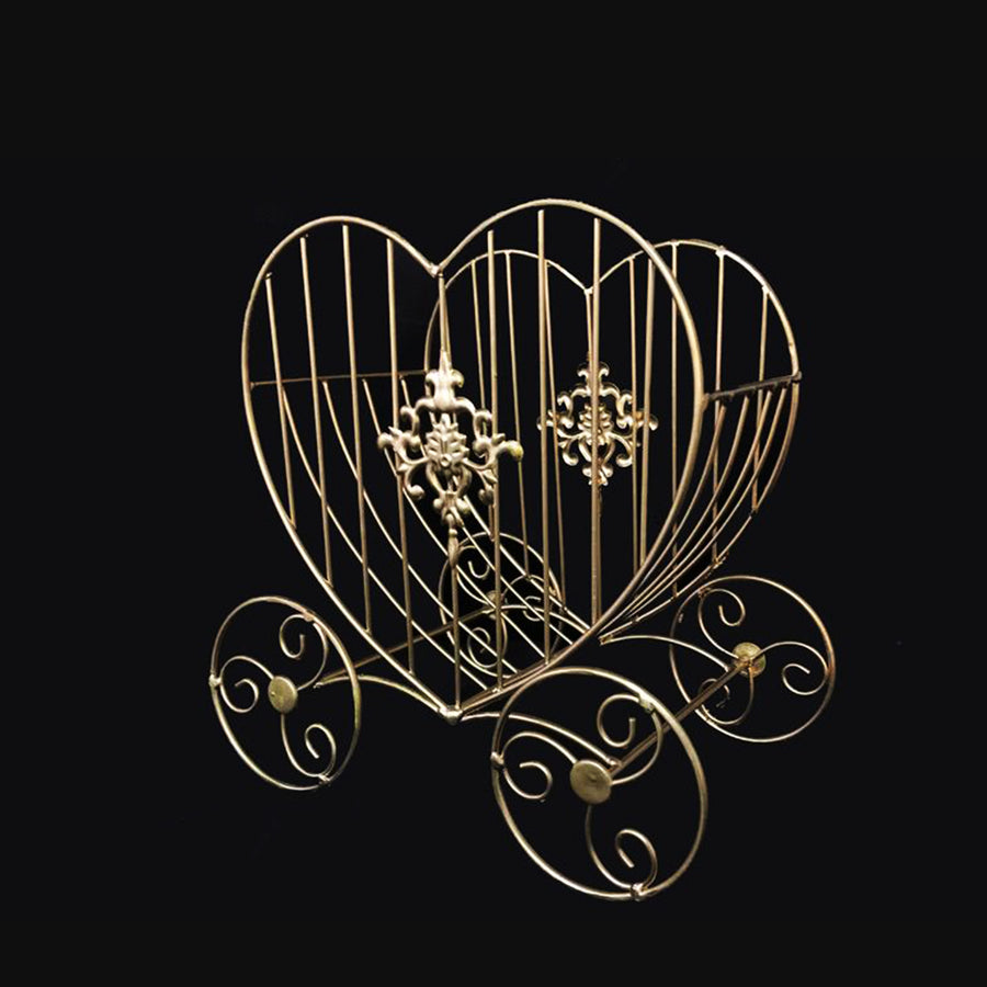 Gold Heart Cinderella Carriage Card Holder Centerpiece 11 Inch x 7 Inch x 11 Inch
