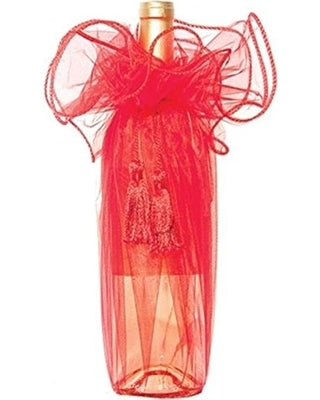 Organza Wine Wrap with Tassel 28 Inch - Pack of 12 Bags