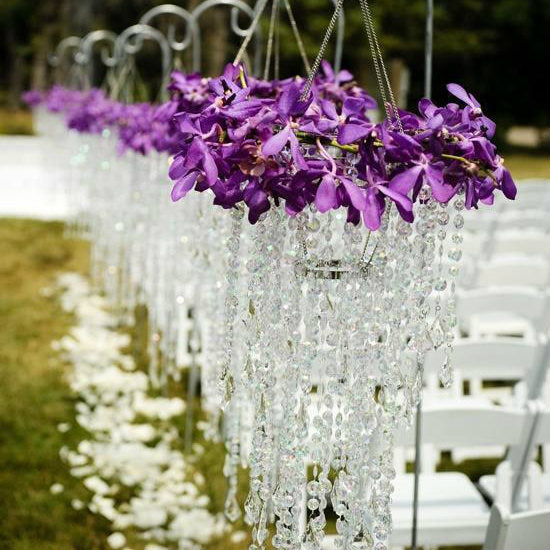 Crystal Garland 20 Inch Clear Hand Strung Teardrop Crystal Wedding Tree Garland 12 Pieces