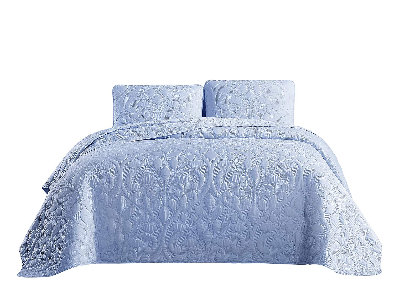 SuperBeddings Rayon Bamboo Pre-Washed Embroidered Coverlet Set