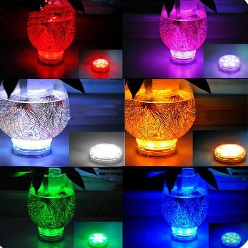 LED Vase Lights W/Waterproof Submersible IR Remote 10 Assorted Colors