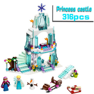 2018 Friends Series Elsa Anna Figures Dress Up Building Block Toys Compatible Girl Friends Princess Castle Legoe Toy