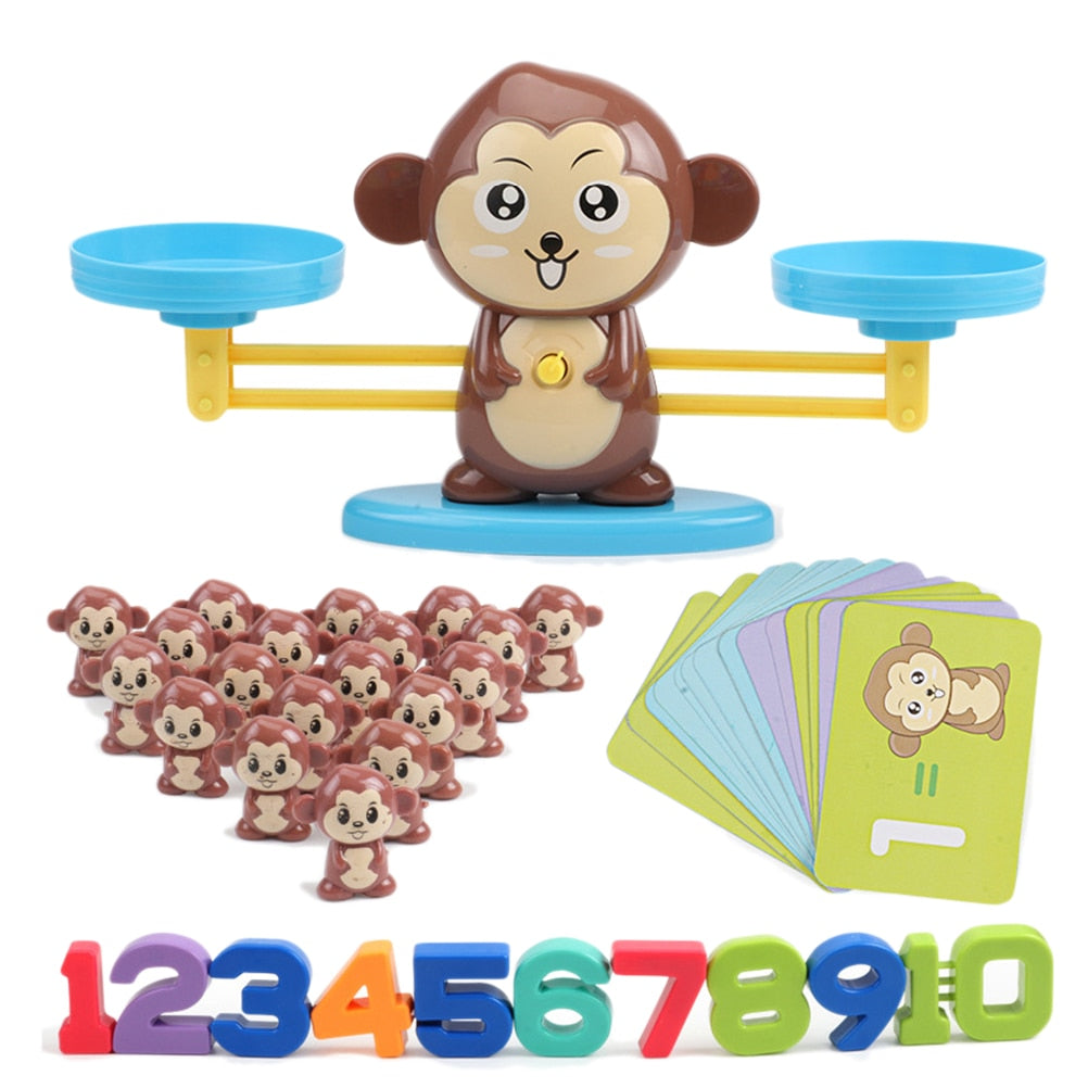 Animal Figure Digital Balance Scale Toy Montessori Math Balancing Scale Number Board Game Educational Toy Preschool Math Toys