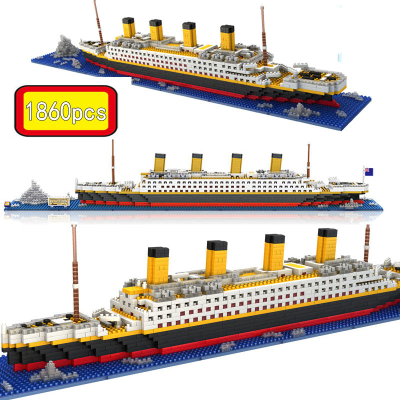 1860 Pcs NO Match RS Legoinglys Titanic Sets Cruise Ship Model Boat DIY Building Diamond Mini Blocks Kit Children Kids Toys