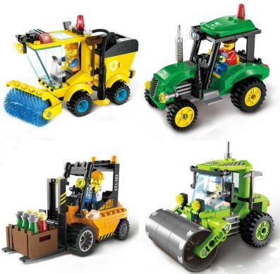 4 Type Civilized Legoinglys City Sweeper Assembled Model Building Blocks Toys Kit DIY Educational Children Birthday Gifts 102pcs