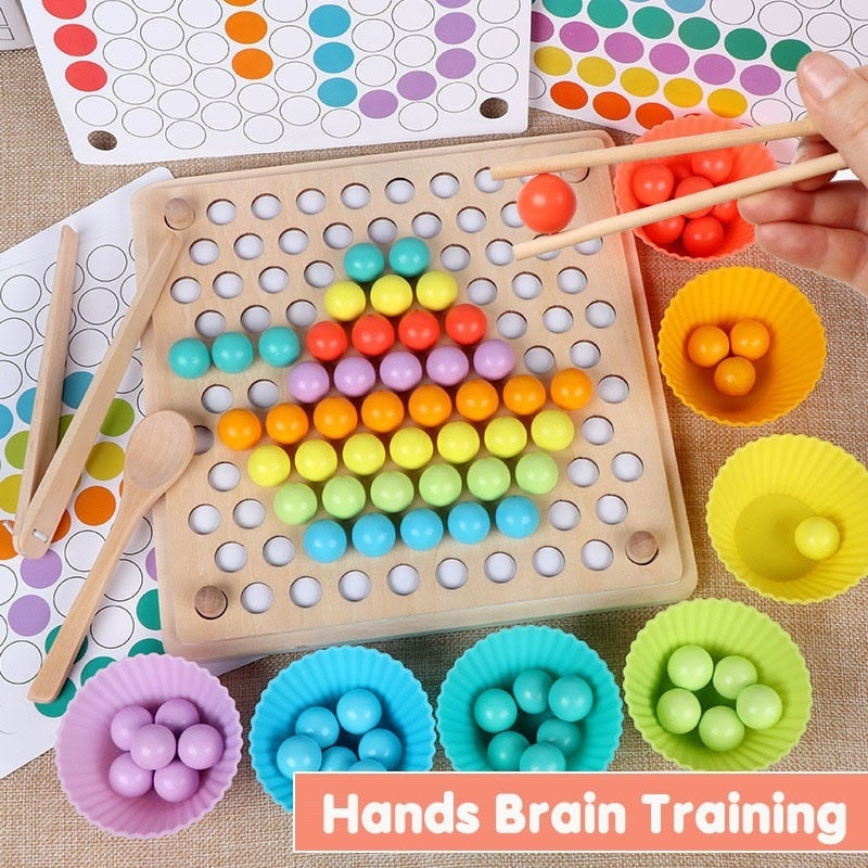2019 new Montessori wooden toy hand brain training clip beads puzzle board math game infant early education children's toys