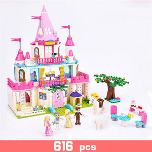Elsa Ice Castle Princess Anna Ariel Little Mermaid Building Blocks for Girl Friends Kids Model Compatible legoing Toys Gift