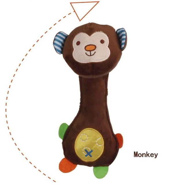 High Quality Safety Plush PP Cotton Baby Lathe Hanging Ring Animal Rattle Crib Hanging Baby Stroller Toys Teethers Stuffed Doll