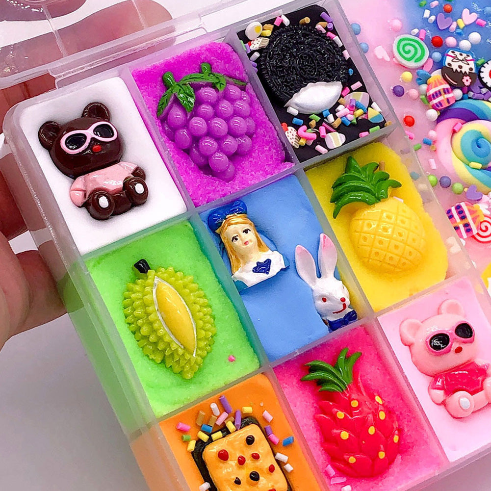 Stress Relieve Funny Decoration Plasticine Ten Grids Kids Art Gift Craft Cute Cartoon Toys Fluffy Slime DIY Non Toxic