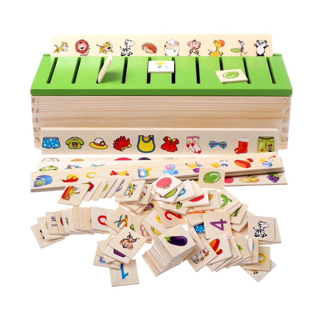 Wood Montessori Sorting Toys Kit for Kids Learning Category Matching