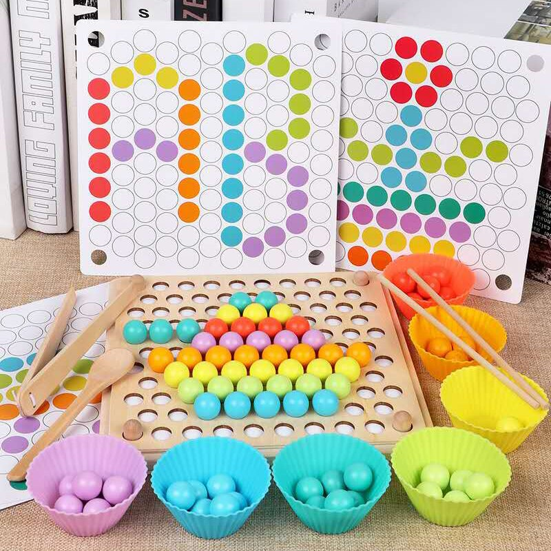 Children's Early Education Color Sorting Wooden Toy Hand Brain Training Clip Beads Children's Math Toy Game
