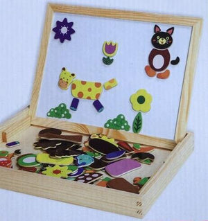 Wooden Magnetic Puzzle Figure/Animals/ House / Plant Drawing Board 19 styles Box Learning & Educational Toy Gift for children