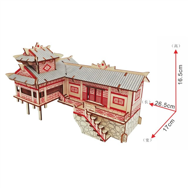 DIY arts and 3D Chinese building Wooden Craft toys Party Arts Puzzles Model Decoration for children kid Toy Birthday Best Gift