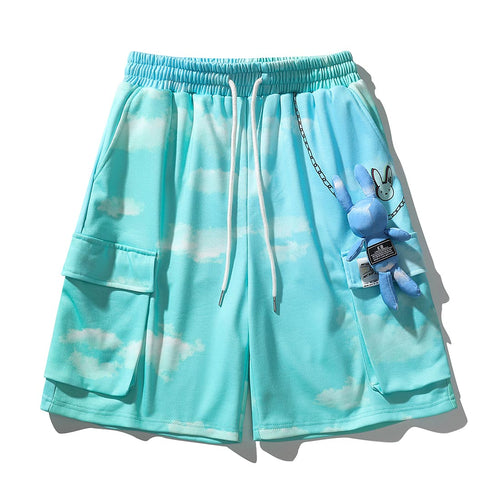 RABBIT DOLL CLOUD PRINTED CARGO SHORTS