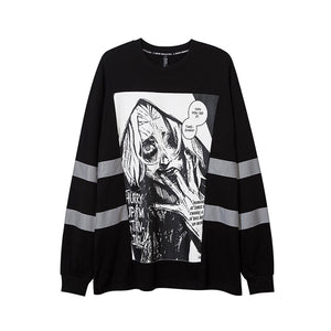 """STARVING"" REFLECTIVE STRIPES SWEATSHIRT"