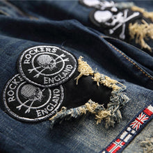 "Load image into Gallery viewer, ""AA"" SKULL PATCH SKINNY JEANS"