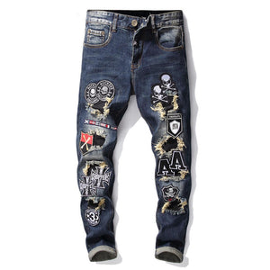 """AA"" SKULL PATCH SKINNY JEANS"