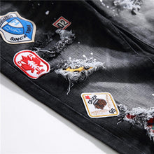 Load image into Gallery viewer, EMBROIDERY BADGE SKINNY JEANS