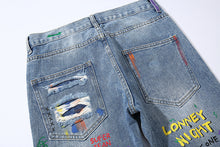 Load image into Gallery viewer, SMILE SHREDDED PENCIL JEANS