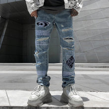 "Load image into Gallery viewer, ""PEACEANDSAFE"" SHREDDED SKINNY JEANS"