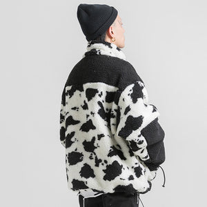 COW SPOTS TEDDY COAT JACKET