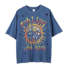 Load image into Gallery viewer, SUNFLOWER PRINTED HOLES T-SHIRT