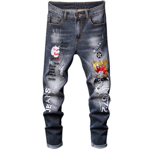"""ROCK"" EMBROIDERY SKINNY JEANS"