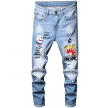 "Load image into Gallery viewer, ""ROCK"" EMBROIDERY SKINNY JEANS"