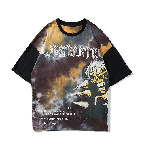 DEMON PRINTED TIE DYE T-SHIRT