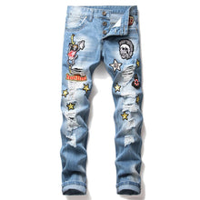 Load image into Gallery viewer, SKULL EMBROIDERY STRETCHLESS HOLE JEANS